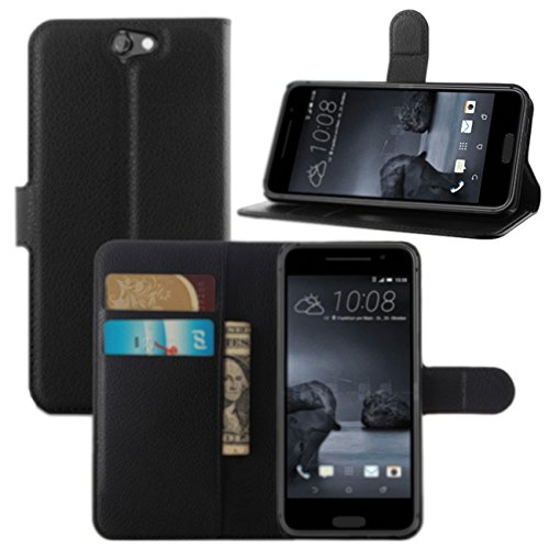 Fettion HTC One A9 Case, Premium PU Leather Wallet Flip Case Cover with Stand Card Holder for HTC One A9 (2015 Release) Phone (Wallet - Black)