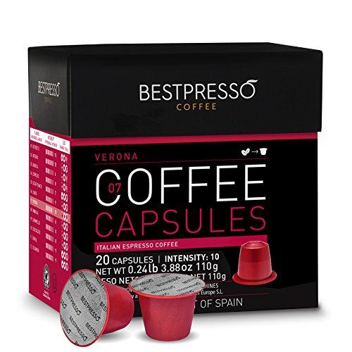 Bestpresso Coffee for Nespresso OriginalLine Machine 120 pods Certified Genuine Espresso Verona Blend (High Intensity) Pods Compatible with Nespresso OriginalLine 60 Days Satisfaction Guarantee