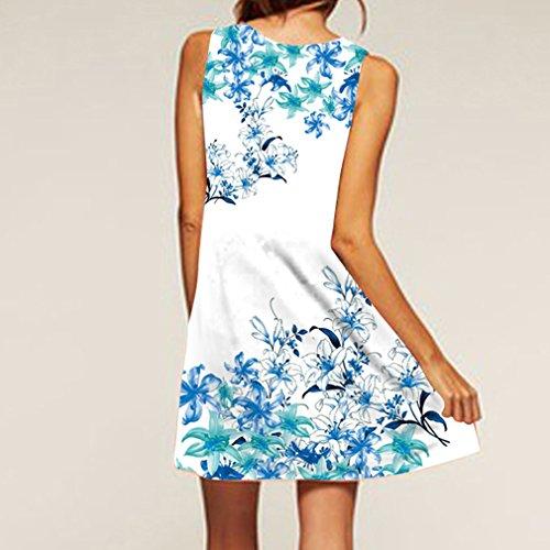 Claro la Sin Vestido las del Azul Verano de Honghu de Mujeres Redondo Mangas Vendimia Cuello de amp;blanco15 la Impresión XHwTwdgnzq