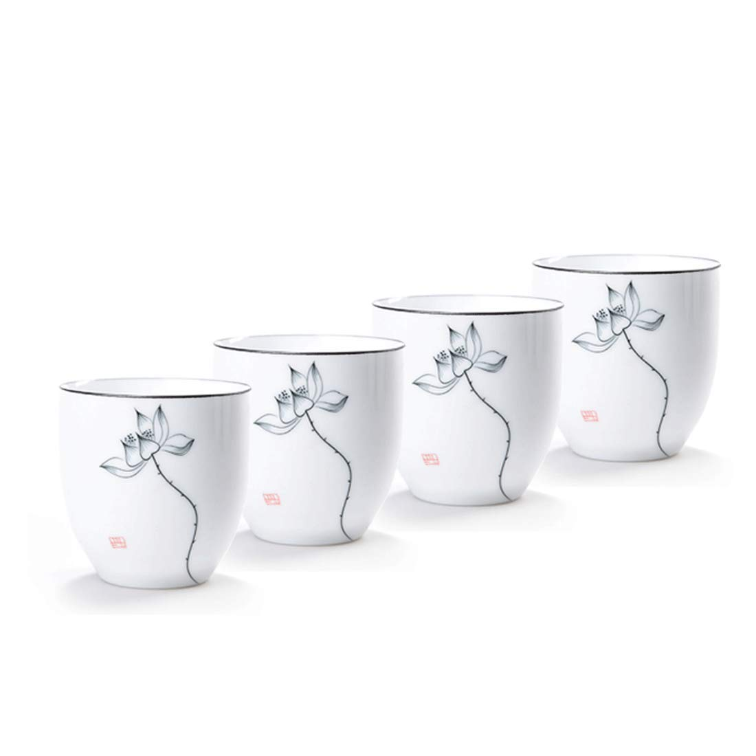 QMFIVE Hand Painted Ceramic Cup White Porcelain Cup - 4pcs(Bamboo)