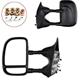 Scitoo Manual Tow Mirrors For 99-07 Ford F250 F350 F450 F550 Super Duty Door Side Mirror Black Towing Pair Driver and Passenger (2000 01 02 03 04 05 06 Ford)