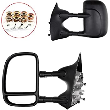 FEIPARTS Tow Mirror Fit for 1999-2007 Ford F250 F350 F450 F550 Super Duty Truck 2000-2005 Ford Excursion Rearview Mirrors with Left Right Side View Mirror Manual Adjusted Black Housing