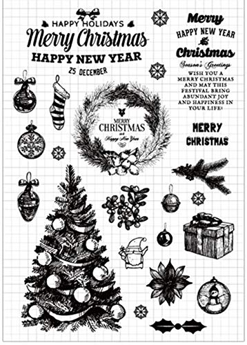 Merry Christmas Tree Snowflakes Decors Balls Sayings Rubber Clear Stamp/Seal Scrapbook/Photo Decorative Card Making Clear Stamp ()