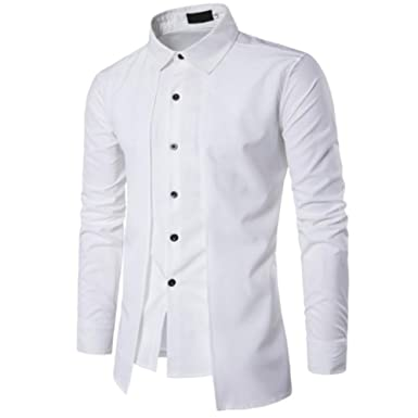 30080b56 Rrimin Men Fake-2pcs Double Breasted Pure Color Casual Thin Slim Fit Shirts:  Amazon.in: Clothing & Accessories