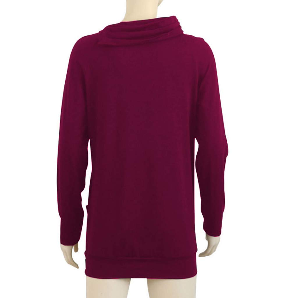 Rambling New Womens Raglan Long Sleeve Cowl Neck Pullover Casual Tunic Sweatshirts with Pockets