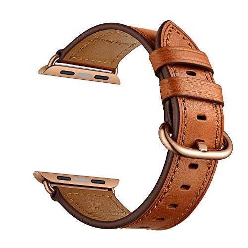 Rose Womens Leather - CINORS Leather Band Compatible with Apple iWatch 38mm Women Genuine Leather Bands Wrist Strap with Rose Gold Buckle for Apple Watch Series 3 2 1 (Brown Leather Rose Gold Clasp)