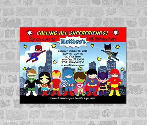 Superheroes Invitation, Super Hero Birthday Party Invitation, Spider Man, Batman, Superman Invite ()