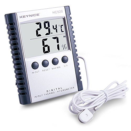 KEYNICE Digital Thermometer Humidity Indoor Outdoor Temperature Gauge Humidity Meter with Probe LCD Display Technology HC-520