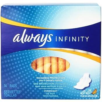 amazon com always infinity overnight feminine pads with wings