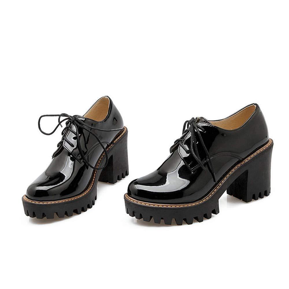 UENGF High Heel Lackleder Frau Schuhe Schuhe Schuhe Dicke Absatzpumpen Runde Zehe Plattform Pu Schnüren Sich Oben Beiläufige Schuhe Große Größe 34-43 b37334