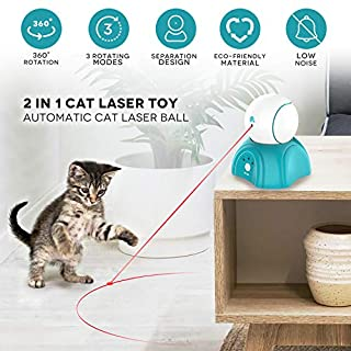 Cat Laser Toy,Laser Ball for Cats,Cat Toys Interactive,Non-Toxic and Eco-Friendly Cat Toy with Three Play Mode,Separation Design and Timer Setting Laser Toy,360°Automatic Rotating Lase