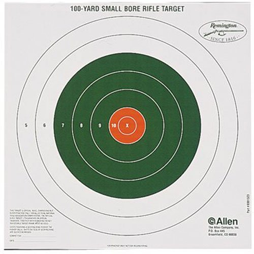 Remington Bullseye Style 100 Yard Sight-In Target (Pack of (100 Yard Small Bore Rifle)