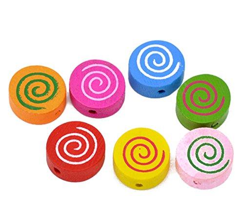 Housweety Bijoux Accessoires 100 Perles Bois Motif Spirale Multicolore Ronde 16x16mm