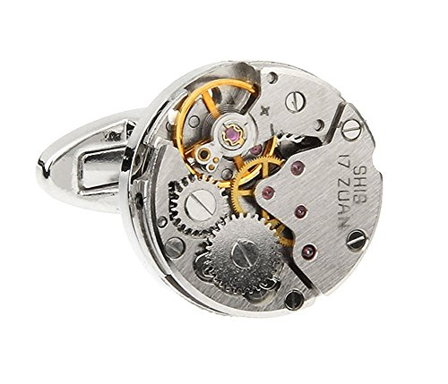 Real Working Watch Movements Cufflinks Functioning Steampunk Cuff Links With Velvet Gift Box  Silver Display