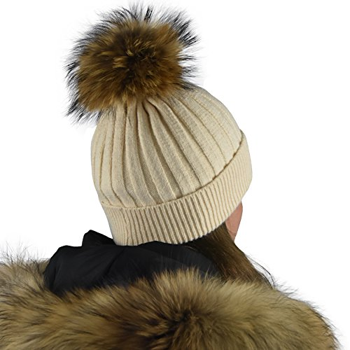 Winter Hat Beanie with Real Fur Pom Pom Decorations. Knit Hats Complete Set with Brush. Beige Cap for Women, Girls, Teens (Dry Ice Halloween Ideas)