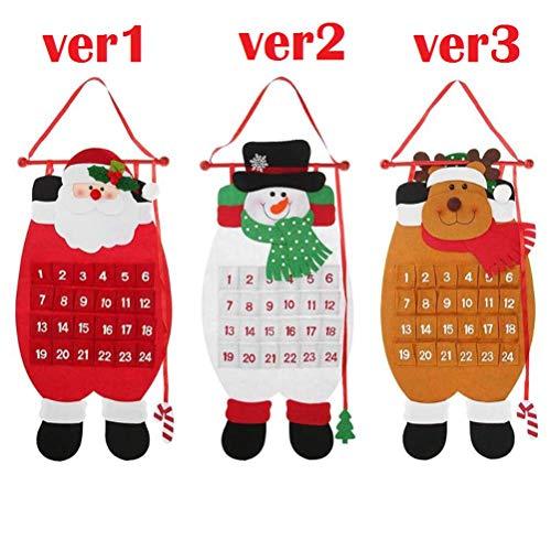 LQT Ltd Christmas Advent Calendar Santa Claus Snowman Elk Animal Xmas New Year Christmas Ornaments Home Office Decoration About 68CM 1PC