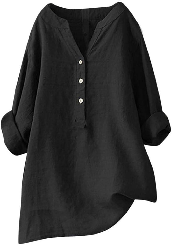 Camisetas Mujer Tallas Grandes Heavy SHOBDW Camisa De Manga Larga con Cuello Alto Blusa Casual Botones con Botones Túnica Suelta Camiseta Solid para Mujer