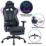 VON RACER Massage Gaming Chair - High Back Racing PC Computer Desk Office Chair Swivel Ergonomic Executive Leather Chair with Footrest and Adjustable Armrests, Light Gray/Black