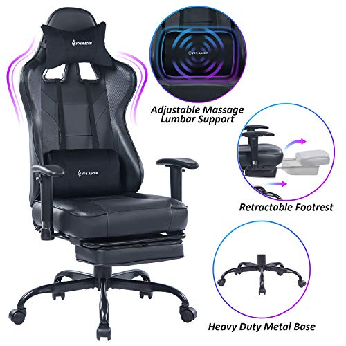 VON RACER Massage Gaming Chair - High Back Racing PC Computer Desk Office Chair Swivel Ergonomic Executive Leather Chair with Footrest and Adjustable Armrests