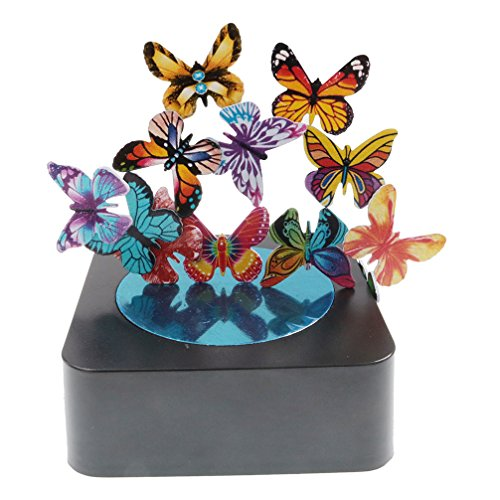 BcnaLin Stocking Stuffer for Coworker, Magnetic Sculpture Desk Toy Office Gift for Stress Relief (Magnetic Base and 12 Colorful Butterflies)