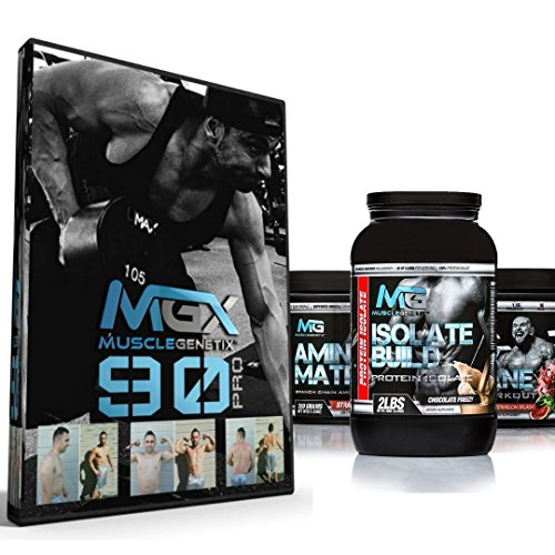 MGX 90 Pro 90 Day Muscle Building Fitness Program, Male + MGX Insane Pre-Workout Energy & Endurances booster 438 Grams Watermelon + Isolate Build 2lb Vanilla + Amino Matrix 350gr Strawberry Kiwi by MGX Nutrition