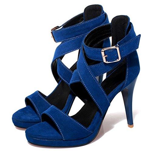 Fiesta COOLCEPT Plataforma Azul Mujer Sandalias Tacon SqxqPCIw0