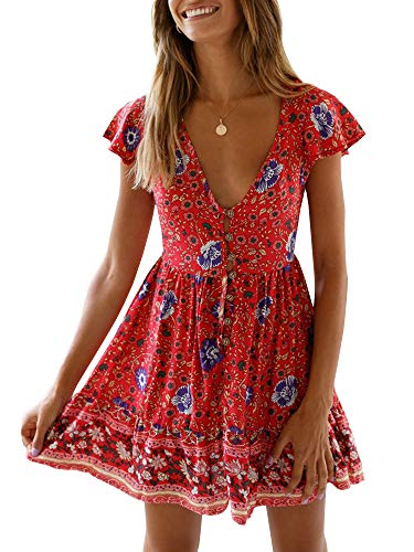 GAMISOTE Womens Deep V Neck Floral Print Dress Sleeveless Mini Dress with ()