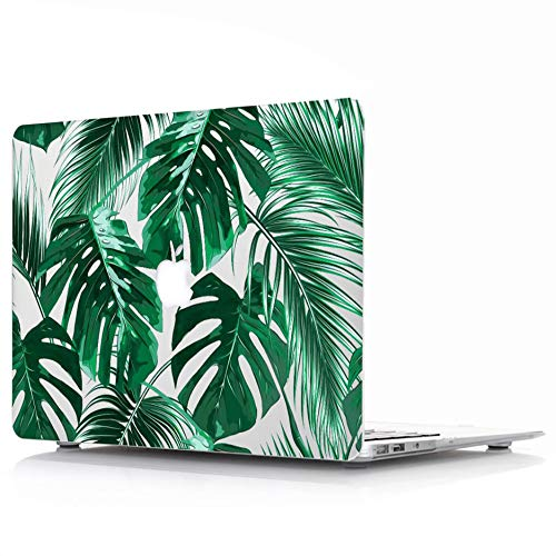 MacBook Retina 12 inch Case (Fit Model:A1534) – L2W Protective Hard Case, Plastic Rubber Coated Shell Cover for MacBook 12″ with Retina Display (2017 & 2016 & 2015 Release) – Tropical Palms Leaves 09