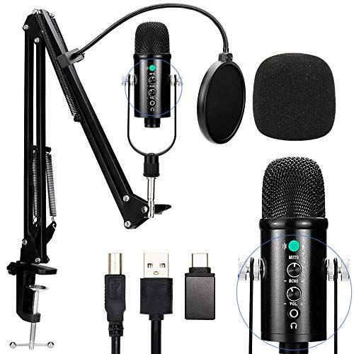 Bpop Fashion USB Condenser Microphone for Computer, Great for Gaming, Podcast, LiveStreaming, YouTube Video, Recording Music, Voice Over, Studio Mic Bundle with Adjustment Arm Stand