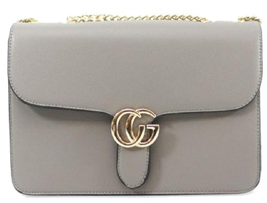 b464b84a8307 Gossip Girl - Designer Inspired Monogram Shoulder Bag Evening Cross Body  With Chain Strap Bag Snake Clasp (Logo - Grey)  Amazon.co.uk  Clothing