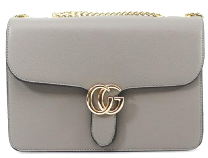 Designer Inspired Monogram Shoulder Bag Evening Cross Body With Chain Strap  Bag Snake Clasp (Logo - Grey)  Amazon.co.uk  Clothing 45e358bfb42d4