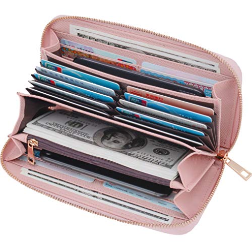 s Clutch Large Capacity Rfid Blocking with Wrist Strap Multi Credit Cards Organizer Travel Wristlet Wallets Pink ()
