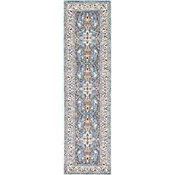 Unique Loom Tradition Collection Vintage Floral Medallion Light Blue Runner Rug (3' x 10')