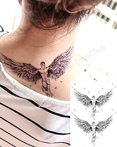 Tatuaje adhesivo temporal para el cuerpo de ángel con alas: Amazon ...