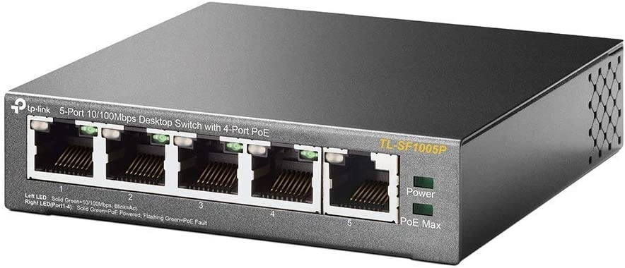 TP-Link 5 Port Fast Ethernet 10/100Mbps PoE Switch | 4 PoE Ports @58W | Desktop | Plug & Play | Sturdy Metal w/ Shielded Ports | Fanless | Lifetime Protection | Unmanaged (TL-SF1005P)