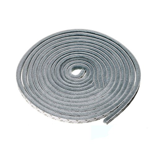 (Weather Stripping Brush Self Adhesive Seal Strip Pile Weatherstrip Sweep for Doors & Windows - 16 Ft (3/8 3/8 inch, Grey))