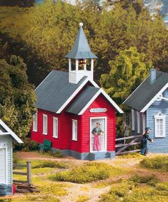 Scale Schoolhouse (PIKO G SCALE MODEL TRAIN BUILDINGS - LITTLE RED SCHOOLHOUSE - 62243)