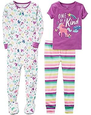 Girls' 3-Piece Cotton Pajama Set
