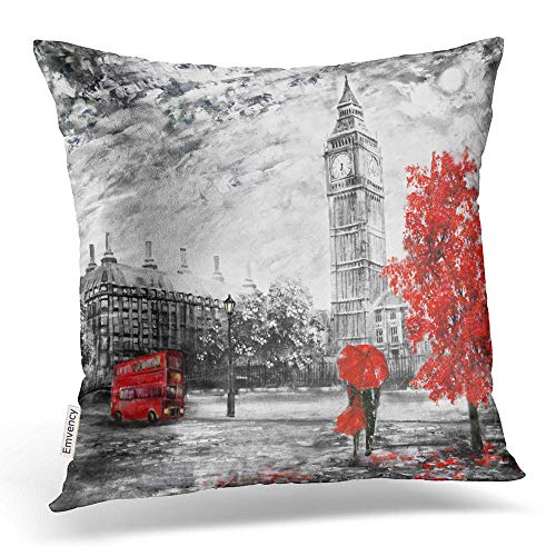 Emvency Throw Pillow Covers Oil Painting On Canvas Street View London Artwork Big Ben Man Woman Decor Pillowcases Polyester 18 X 18 Inch Square Hidden Zipper Home Cushion Decorative Pillowcase -
