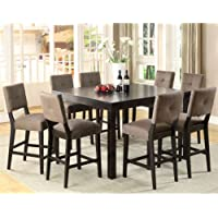247SHOPATHOME IDF-3311PT-9PC Dining-Room, 9-Piece Set, Brown