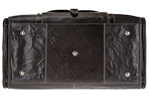 Leather Bag and Genuine Travel Cognac Women Weekender Buffalo 2 Duffle by Garment Black in 1 Men Alpenleder YAqwInSn1z