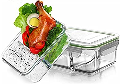 Glass Meal Prep Containers (3-Pieces Set) with Dividers Portion Control | BPA-FREE, Leakproof Food Storage Organization | Air Vent Lids and Preservation System | Freezer, Oven, Microwave Safe