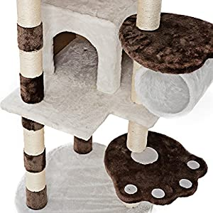 """Xstiger 60"""" Modern Cat tree Furniture Tower Climbing Tree with Condo/House and Toys (Brown/White)"""