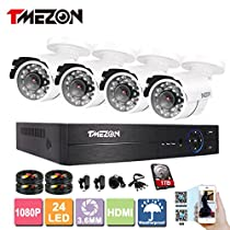 TMEZON 4Ch 1080P 5 IN 1 HVR DVR AHD Night Vision CCTV Security Camera System Surveillance DVR Kits 2.0MP AHD Cameras White with 1TB HDD