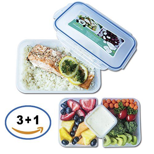 Lunch Container, Smart Bento Lunch Box, Reusable Food Container Portion Control Food Organizer with 2 Compartments and One Sauce Container with Lid, for Work and School for Men, Women, Boys, Girls