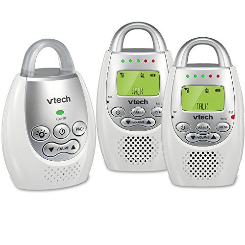 VTech DM221-2 Audio Baby Monitor with up to 1,000 ft of Range, Vibrating Sound-Alert, Talk Back Intercom, Night Light Loop & Two Parent Units (Vtech Audio Baby Monitor With 2 Parent Units)