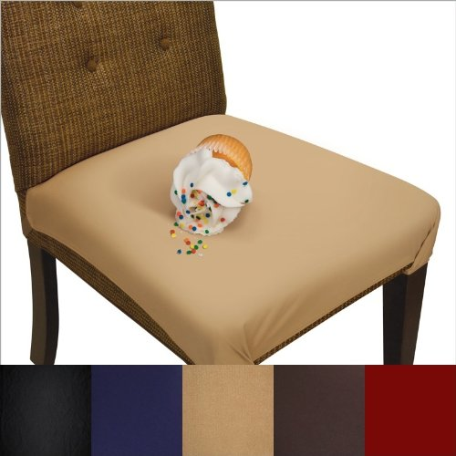 SmartSeat Dining Chair Cover and Protector - Pack of 2 - Sandstone Tan - Removable, Waterproof, Machine Washable, Stain Resistant, Soft, Comfortable Fabric for Kids, Pets, Entertaining, Eldercare