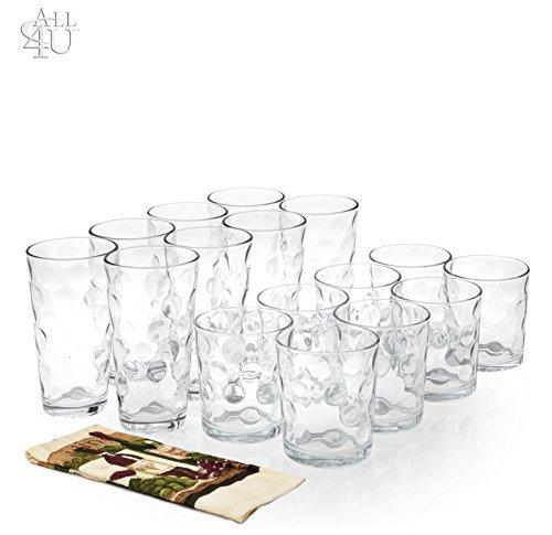 All 4 You 16 Piece Elegant Eclipse Glassware Set, 8 Cooler Glasses 16 oz & 8 DOF Glasses 13 oz Drinking Glasses, Set of 16 + 1 Hand Towel