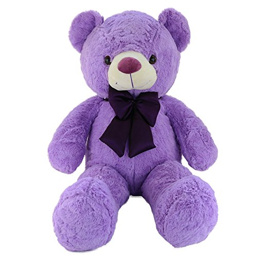 WEWILL Cuddly Giant Lavender Teddy Bear, Violet Stuffed Animals with a Bowtie, Nice Gift for Father's Day, 39 inch, Purple
