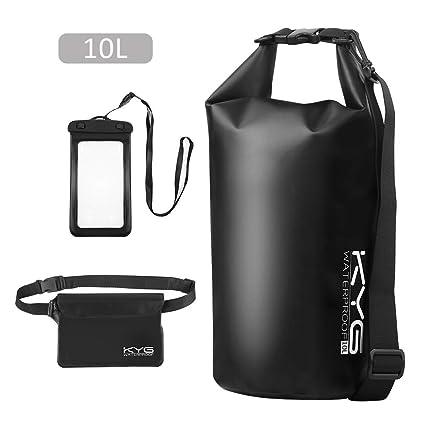 Premium bolsa estanca 10L impermeable seca PVC- Set de bolsa waterproof con funda táctil de móvil y bolsa cintura para playa y deportes al aire(rafting/kayak/senderismo/esquí/pesca/escalada/camping)